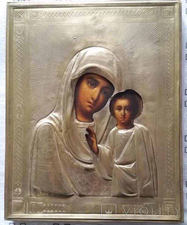 Ікона Казанська Богородиця, латунь 22,3x18,0 см, фото №2