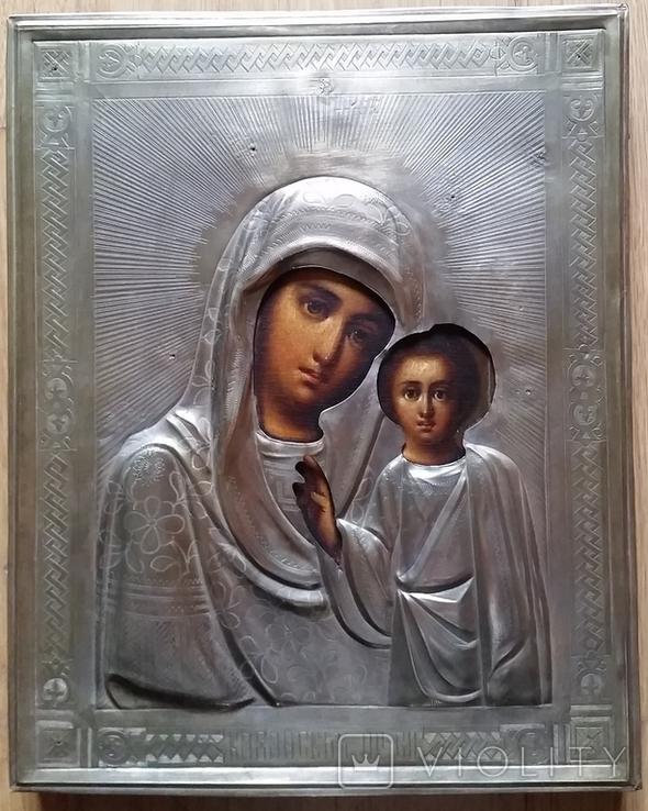 Ікона Казанська Богородиця, латунь 22,3x18,0 см, фото №4