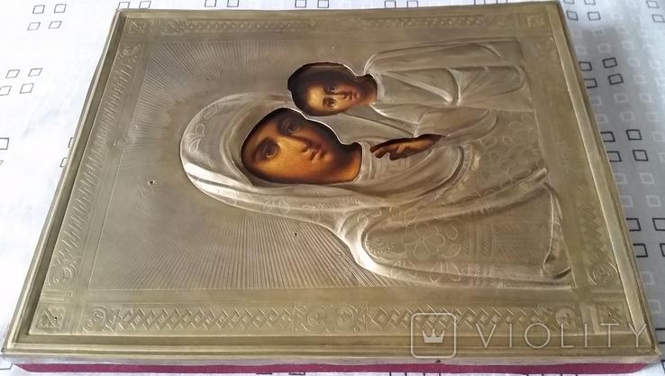 Ікона Казанська Богородиця, латунь 22,3x18,0 см, фото №6
