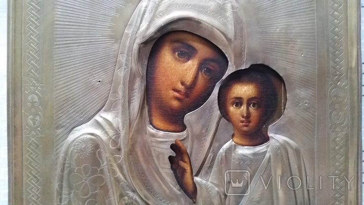 Ікона Казанська Богородиця, латунь 22,3x18,0 см, фото №8