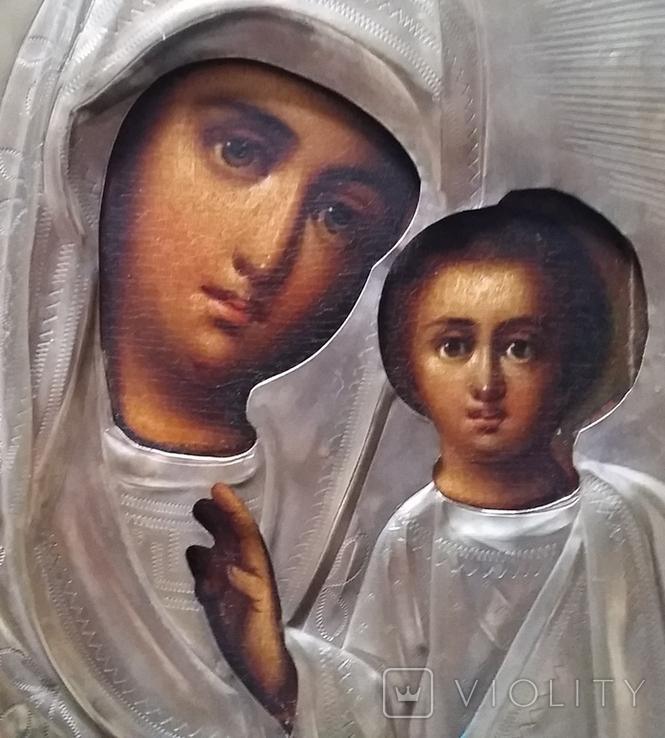Ікона Казанська Богородиця, латунь 22,3x18,0 см, фото №10