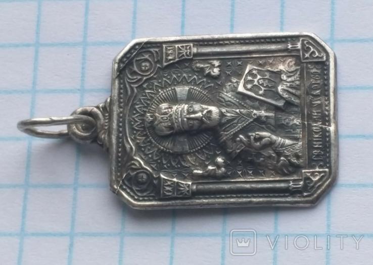 Иконка Св. Николай Чудотворец 925 с тризубцем, фото №3