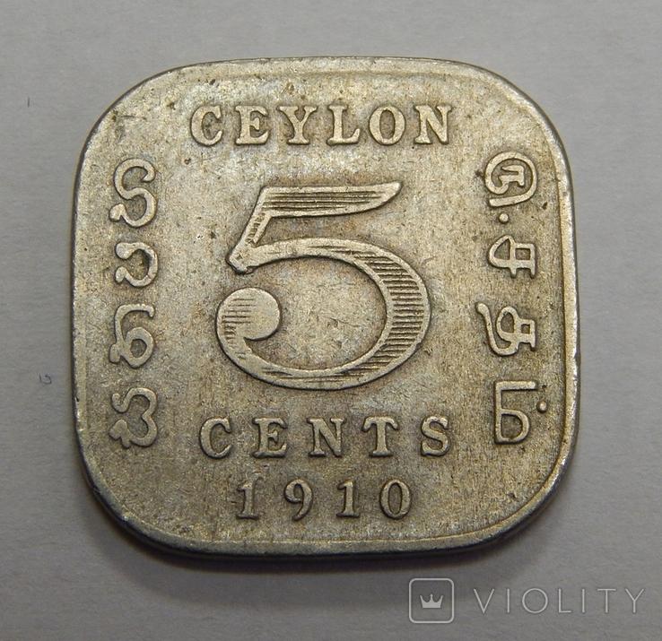 5 центов, 1910 г Цейлон, фото №2