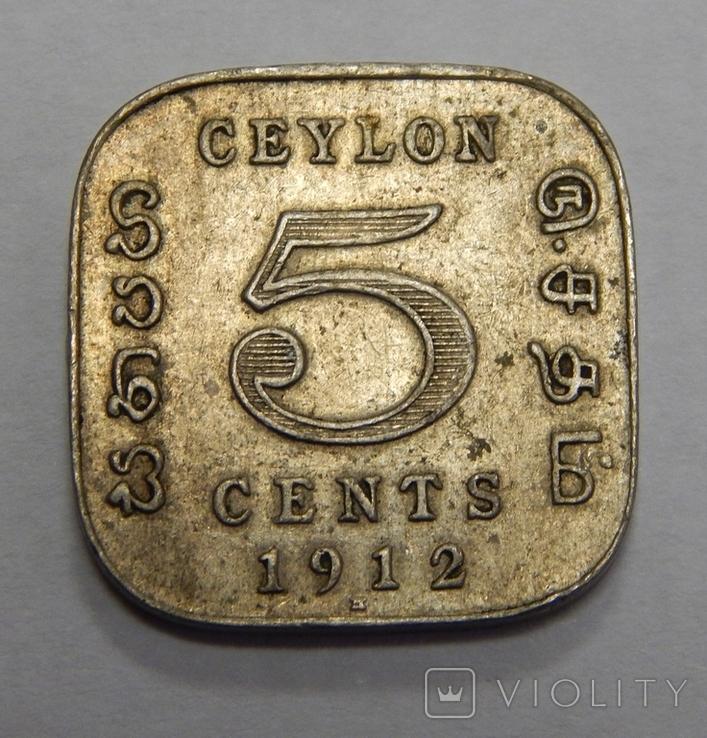 5 центов, 1912 г Цейлон, фото №2