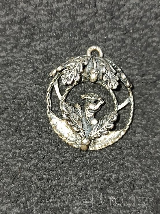 Кулон подвеска белка серебро 835 винтаж, фото №3