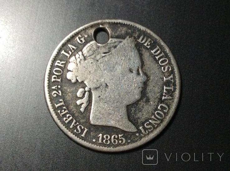 Испания 1865 серебро 40 сентимо, фото №2