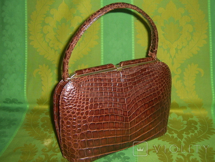 Сумочка винтажная коллекционная Lopez из кожи аллигатора Аргентина, фото №2