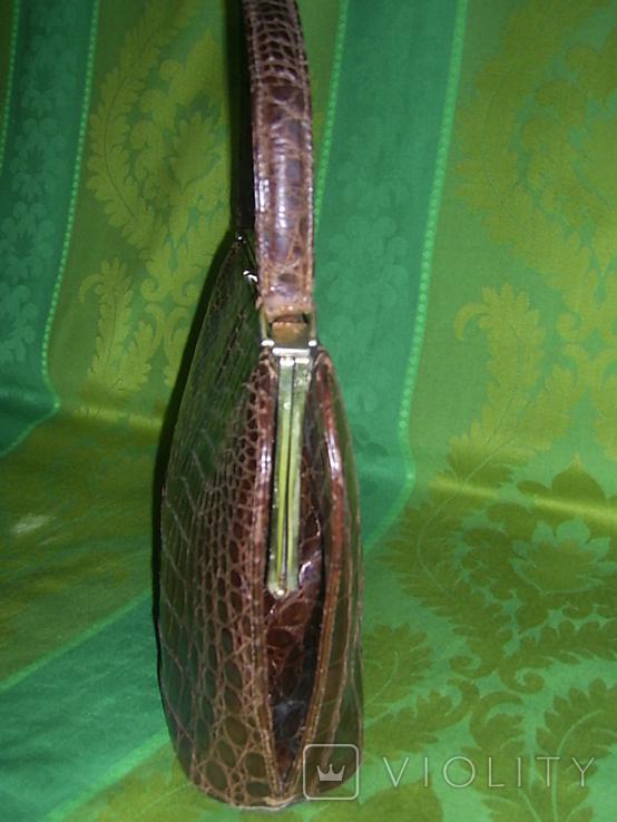 Сумочка винтажная коллекционная Lopez из кожи аллигатора Аргентина, фото №6