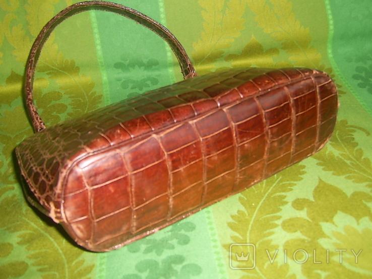 Сумочка винтажная коллекционная Lopez из кожи аллигатора Аргентина, фото №7