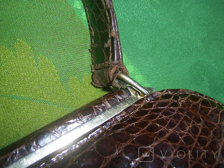 Сумочка винтажная коллекционная Lopez из кожи аллигатора Аргентина, фото №10