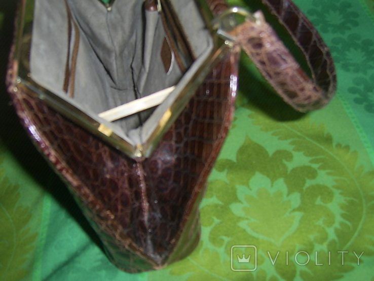 Сумочка винтажная коллекционная Lopez из кожи аллигатора Аргентина, фото №12
