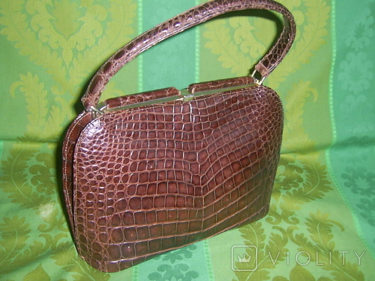 Сумочка винтажная коллекционная Lopez из кожи аллигатора Аргентина, фото №13