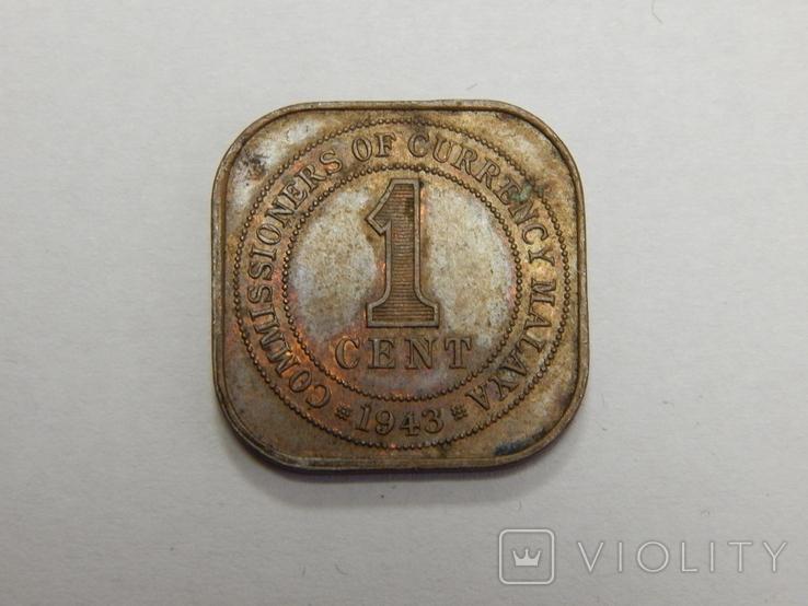 1 цент, 1943 г Британская Малая, фото №2