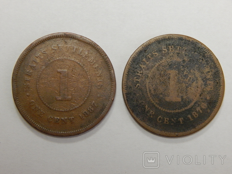 2 монеты по 1 центу, Стреитс Сеттлмент, фото №2