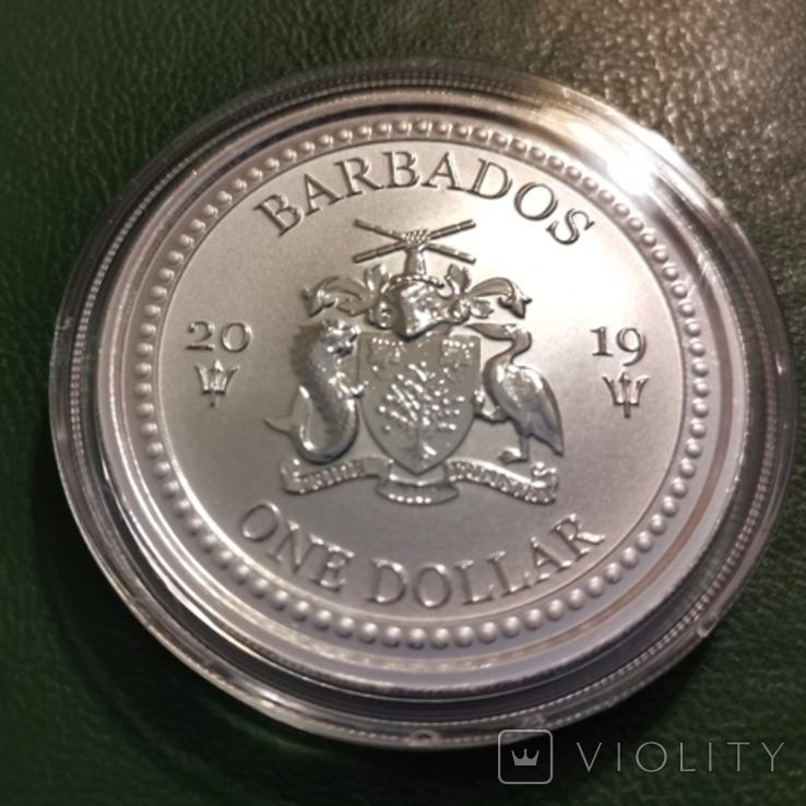 1 доллар 2019 р.Барбадос,Літаюча риба, фото №2