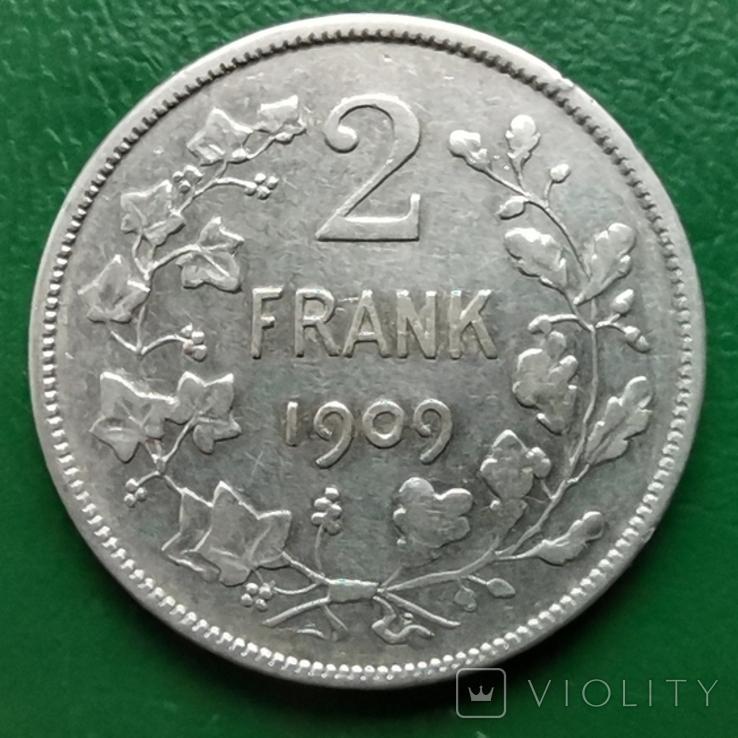 2 франка 1909г.БельгияDER, фото №2