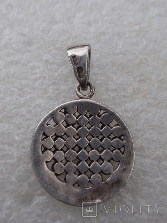 Круглая подвеска из из серебра с черными камнями., фото №3