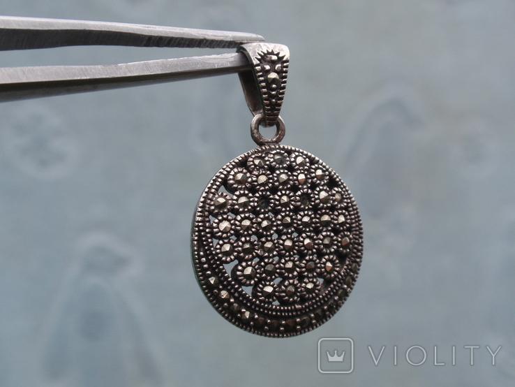 Круглая подвеска из из серебра с черными камнями., фото №6