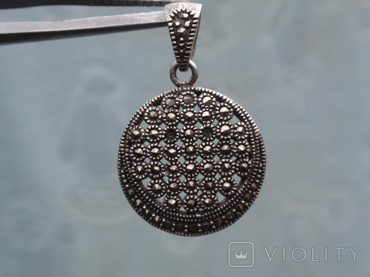 Круглая подвеска из из серебра с черными камнями., фото №7