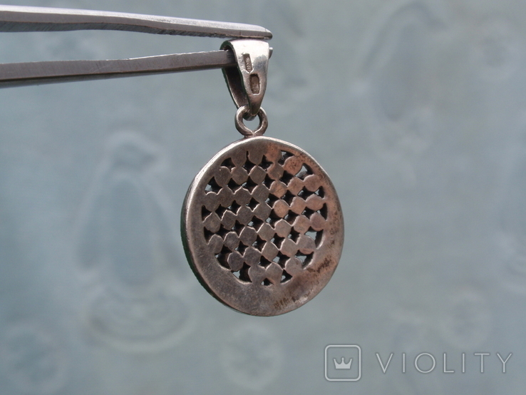Круглая подвеска из из серебра с черными камнями., фото №8