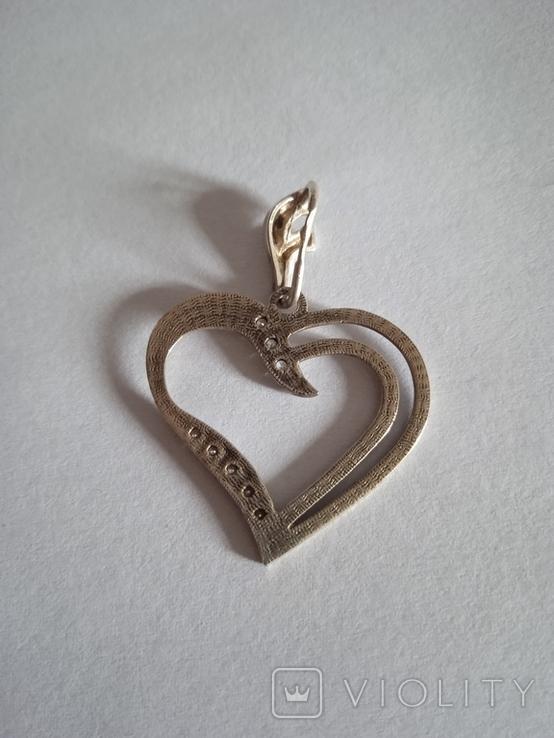 Серебряный кулон с фианитами в форме сердца, фото №4