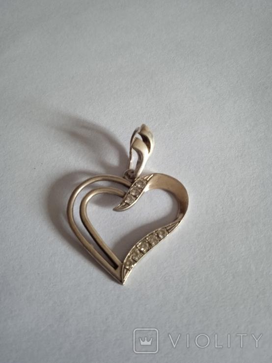 Серебряный кулон с фианитами в форме сердца, фото №2