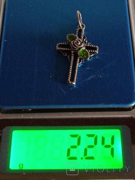 Крестик с зелёным камнем, фото №2