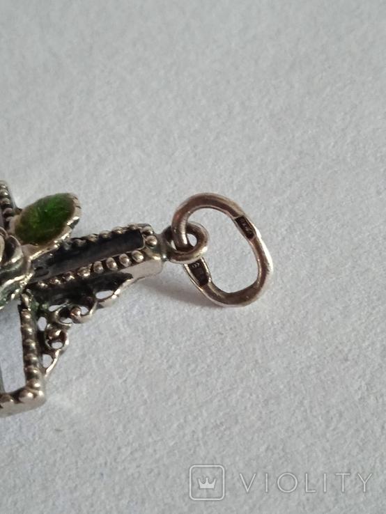 Крестик с зелёным камнем, фото №4