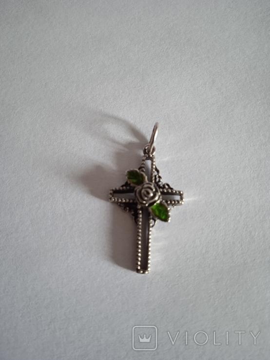 Крестик с зелёным камнем, фото №6