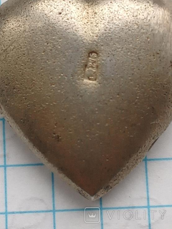 Женский кулон с камнем серебро 875, фото №4