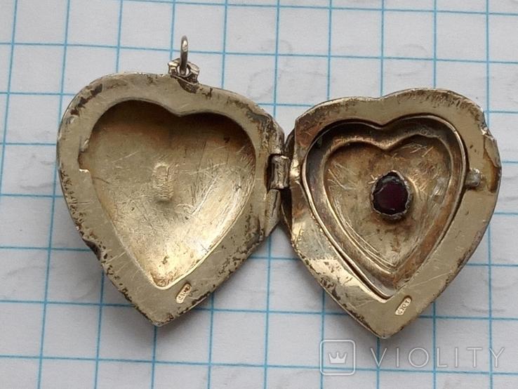 Женский кулон с камнем серебро 875, фото №5