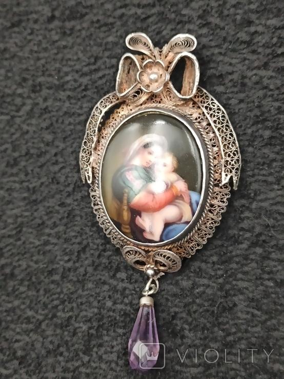 Медальон серебро филигрань 19 век, фото №9