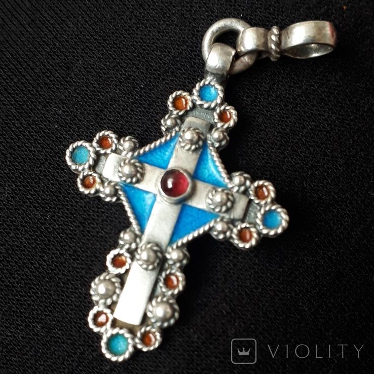 Эмалевый крест с гранатовым камнем, фото №2