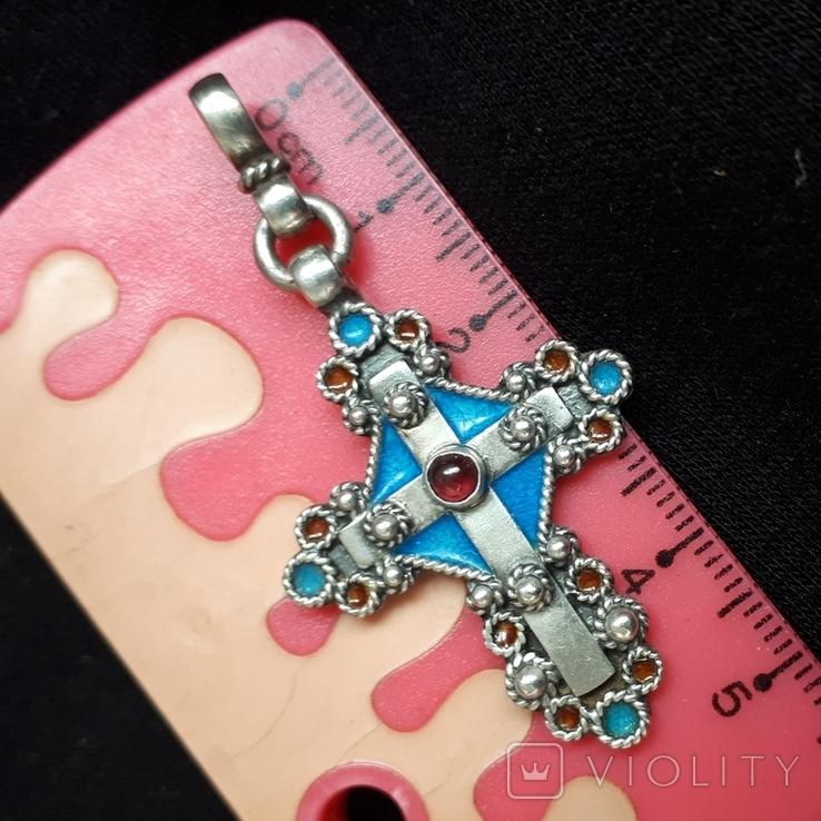 Эмалевый крест с гранатовым камнем, фото №11