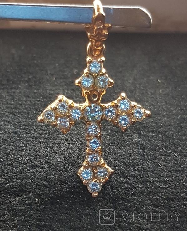 Крест золото 583, Вставки брилиант, фото №4