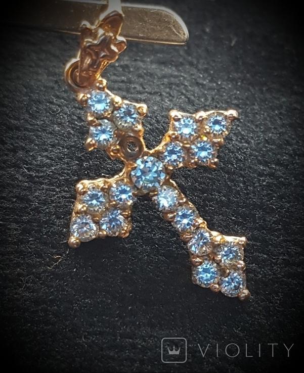 Крест золото 583, Вставки брилиант, фото №8