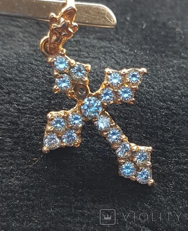 Крест золото 583, Вставки брилиант, фото №9