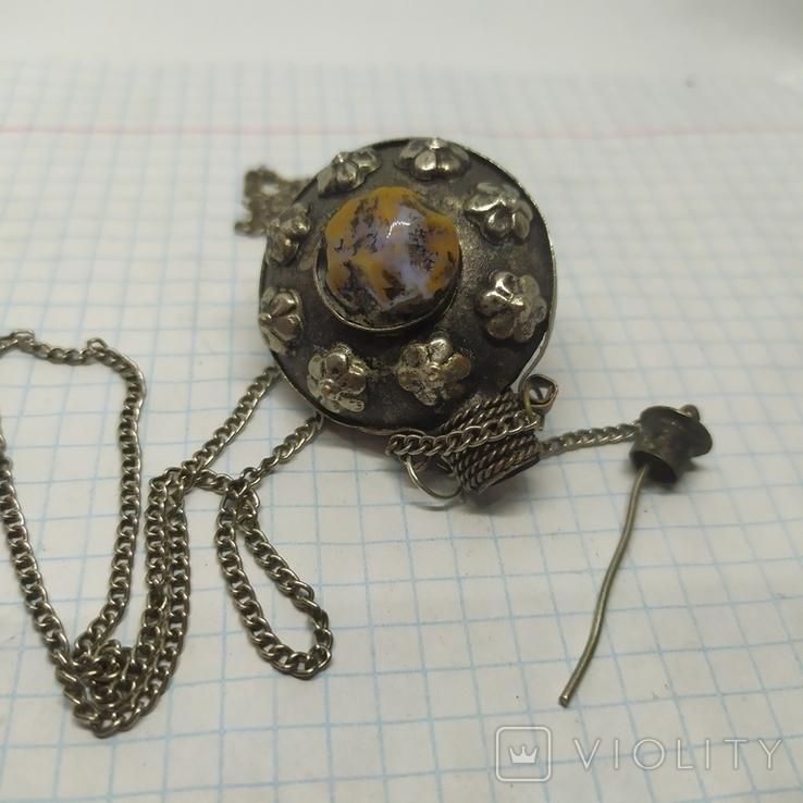 Кулончик-флакон с камнями. Ароматница, нюхательница. Диаметр 35мм,высота 45мм, фото №12
