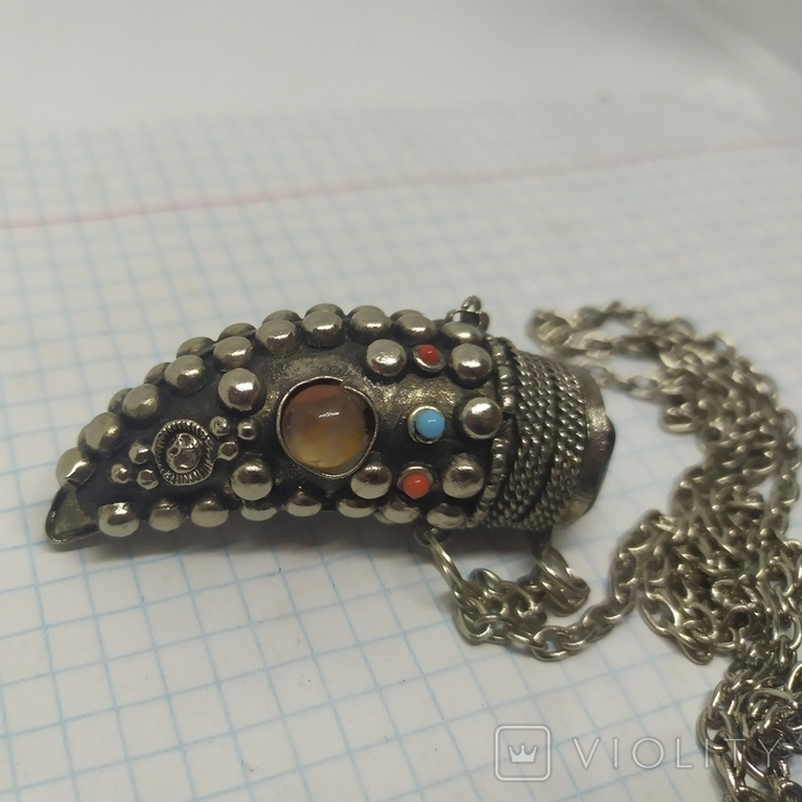 Кулончик-флакон с камнями. Ароматница, нюхательница. 23х62мм, фото №3
