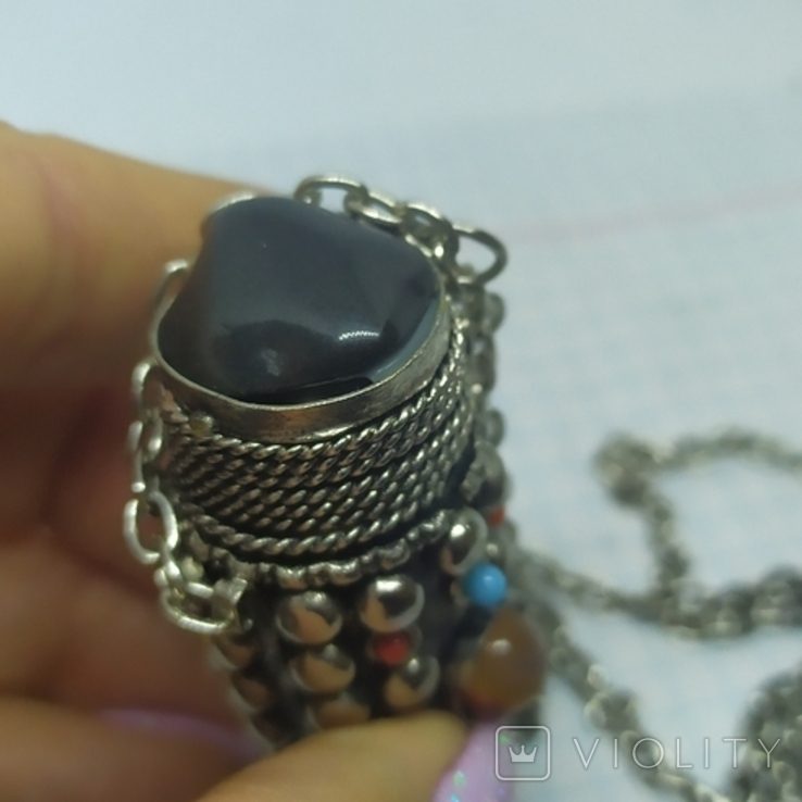 Кулончик-флакон с камнями. Ароматница, нюхательница. 23х62мм, фото №8