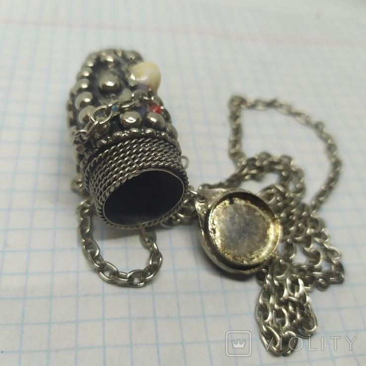 Кулончик-флакон с камнями. Ароматница, нюхательница. 23х62мм, фото №10