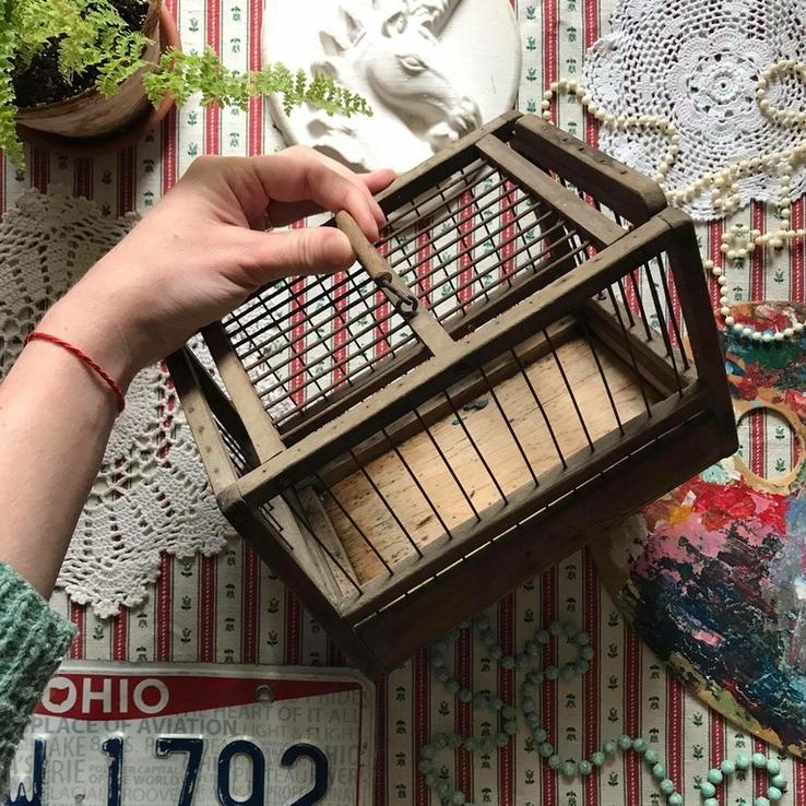 Клетка переноска дерево деревянная ретро винтаж декор, фото №2