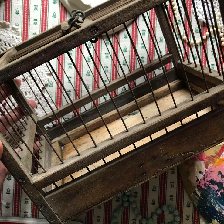 Клетка переноска дерево деревянная ретро винтаж декор, фото №5