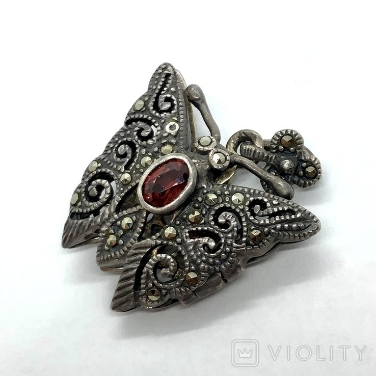 Подвес мотылёк бабочка серебро с камнем, фото №4