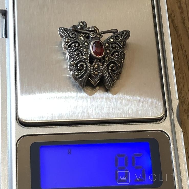 Подвес мотылёк бабочка серебро с камнем, фото №9