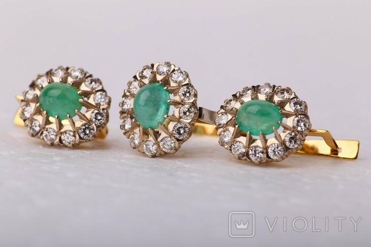 Золотой набор  750 пробы с натуральными бриллиантами и изумрудами, фото №5