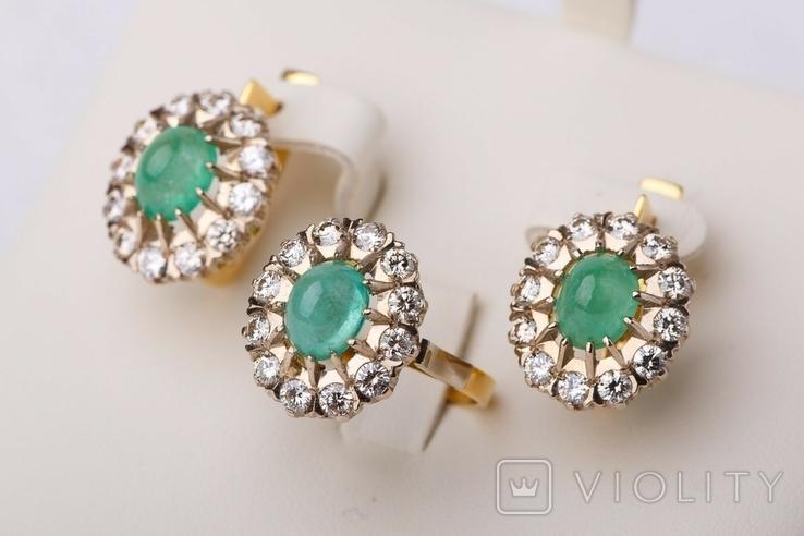 Золотой набор  750 пробы с натуральными бриллиантами и изумрудами, фото №7