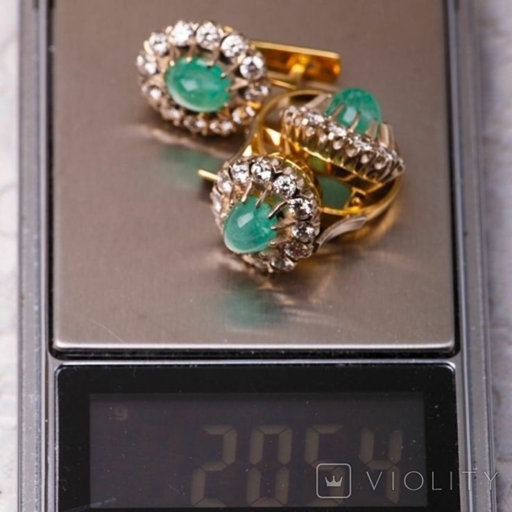 Золотой набор  750 пробы с натуральными бриллиантами и изумрудами, фото №12