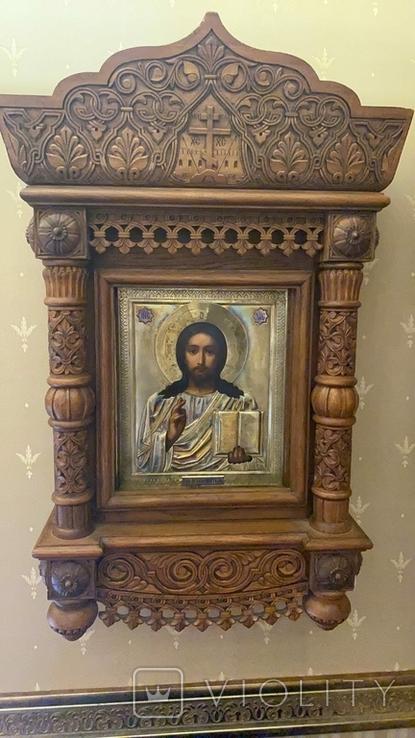 Икона Господь Вседержитель. Оклад серебро, позолота, эмали, фото №2