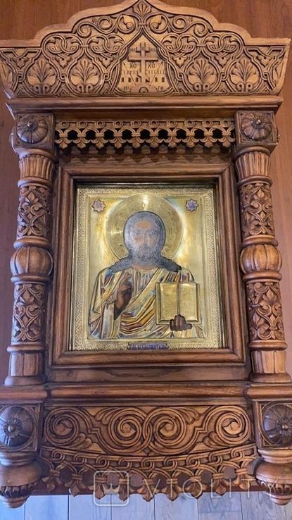 Икона Господь Вседержитель. Оклад серебро, позолота, эмали, фото №3